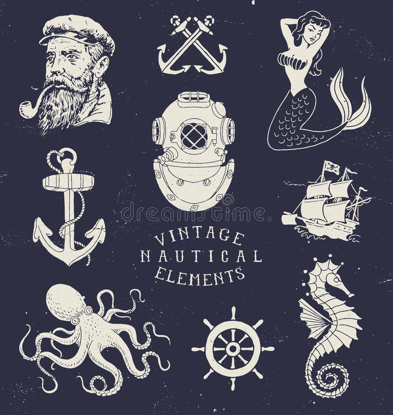 Винтажной комплект нарисованный рукой морской