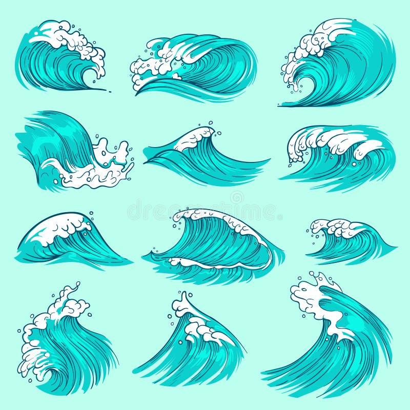 Винтажной нарисованные рукой волны моря голубые с брызгают Комплект вектора воды шторма океана бесплатная иллюстрация