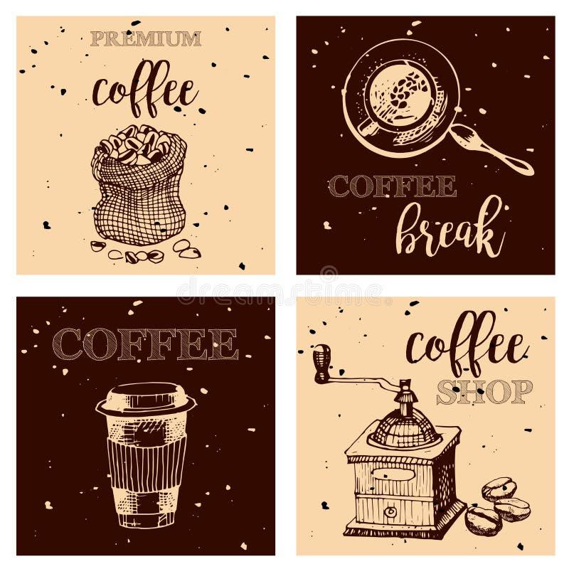 Винтажной нарисованные рукой элементы дизайна для кофейни, рынка, кафа Printable оформление для карточки, плаката, знамени, футбо иллюстрация штока