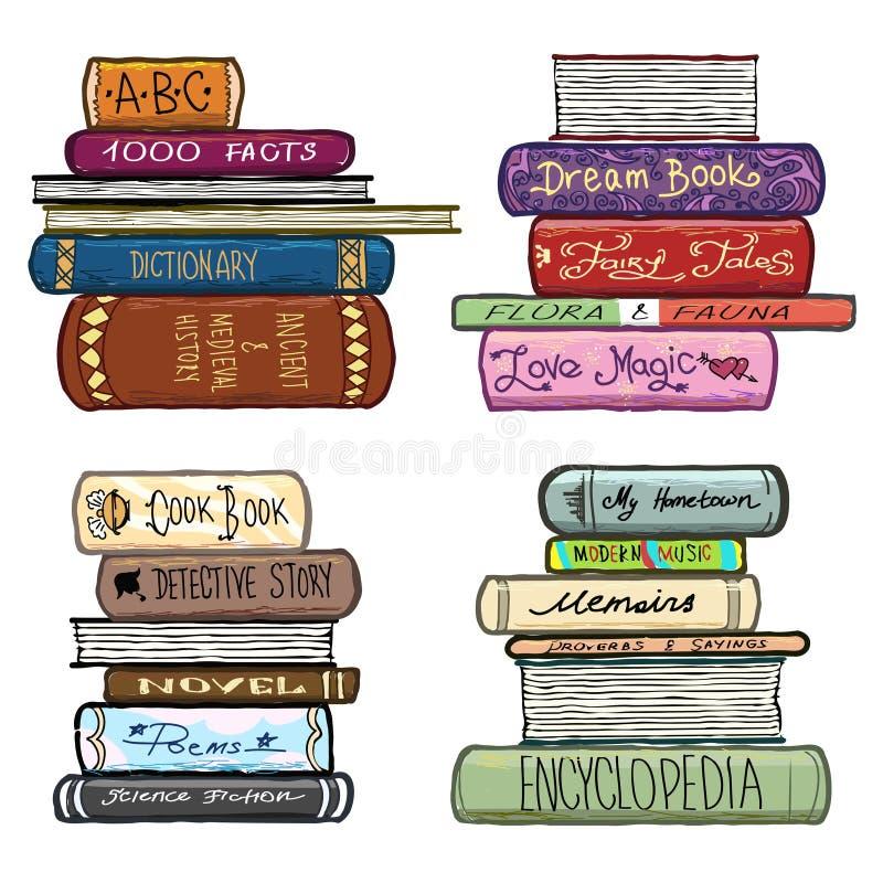 Винтажной нарисованный рукой комплект вектора библиотеки книг иллюстрация штока