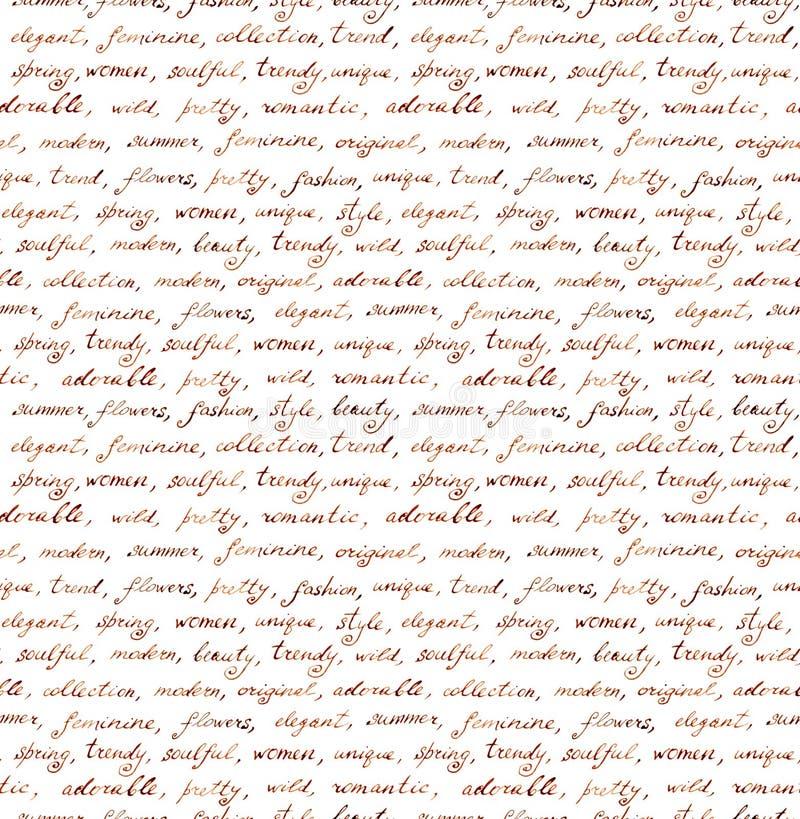 Винтажной письмо написанное рукой - безшовный текст Повторять картину, рукописная предпосылка иллюстрация штока