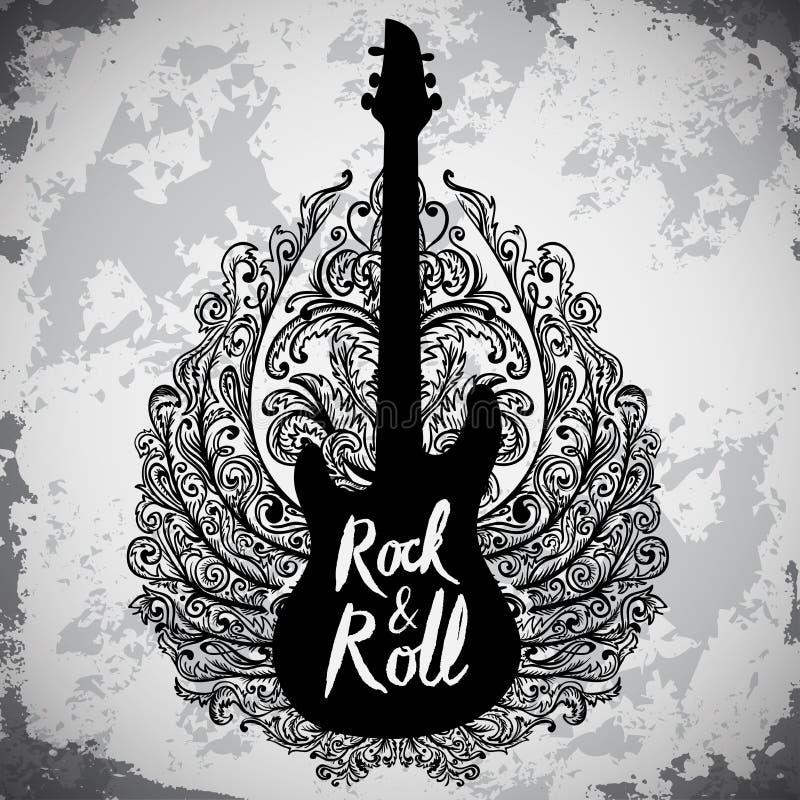 Винтажной плакат нарисованный рукой с электрической гитарой, богато украшенными крылами и рок-н-ролл литерности на предпосылке gr иллюстрация вектора