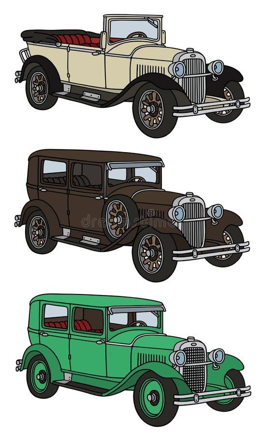 Винтажные автомобили иллюстрация штока