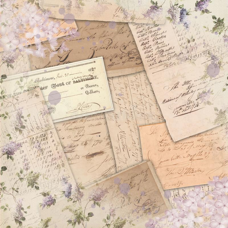 Винтажные Американа Ephemera - картина сирени затрапезная - дизайн бумаги Scrapbook акцента акварели стоковое изображение rf