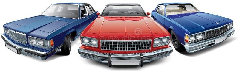 Винтажные американские автомобили иллюстрация вектора