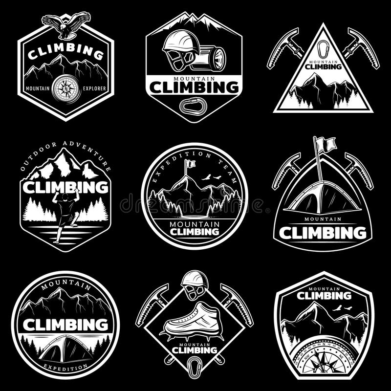 Винтажные белые установленные логотипы альпинизма иллюстрация штока