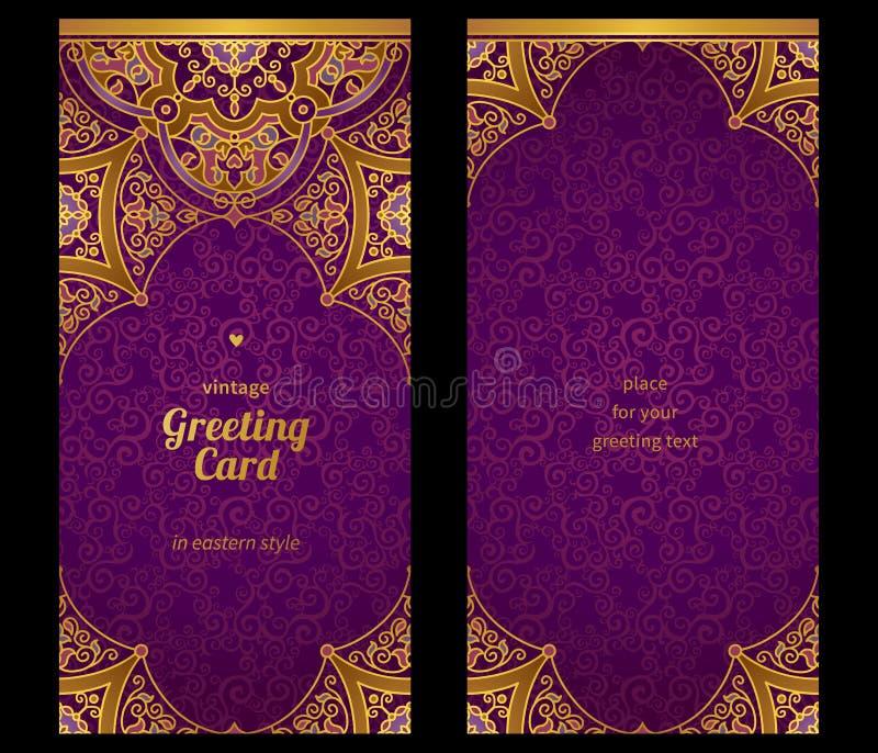 Винтажные богато украшенные карточки в восточном стиле бесплатная иллюстрация