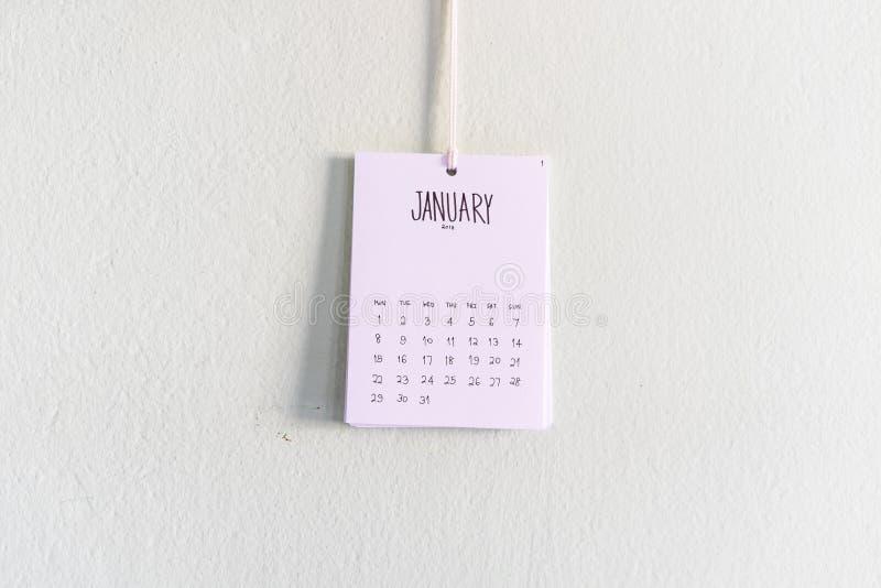 Винтажные вид календаря 2018 handmade на стене стоковые изображения