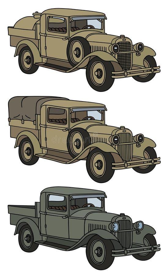 Винтажные воинские тележки иллюстрация вектора