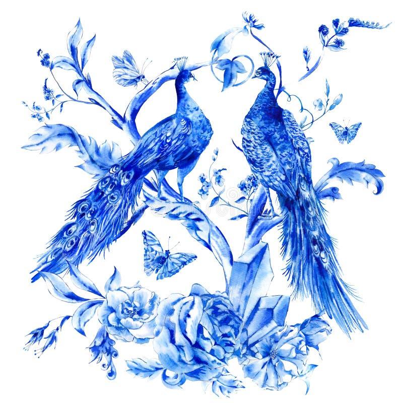 Винтажные голубые пары павлинов с розами акварели стоковое фото rf