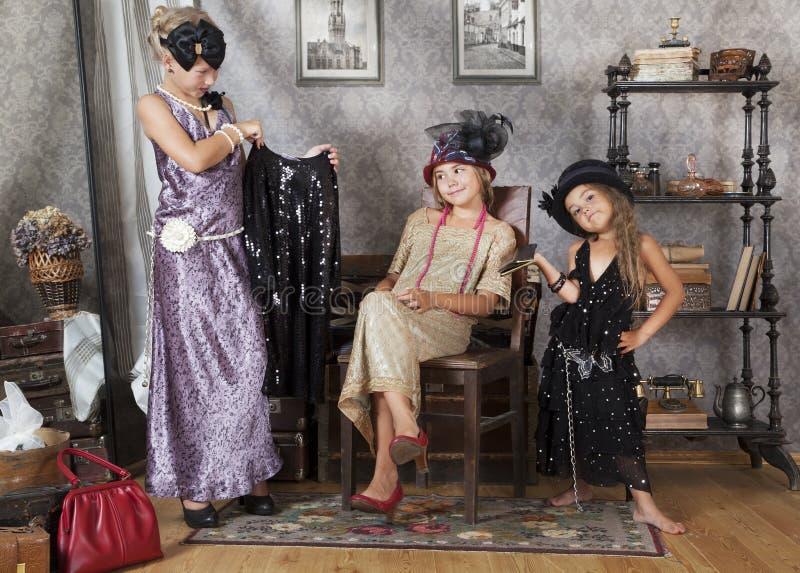 Винтажные девушки стоковое фото rf