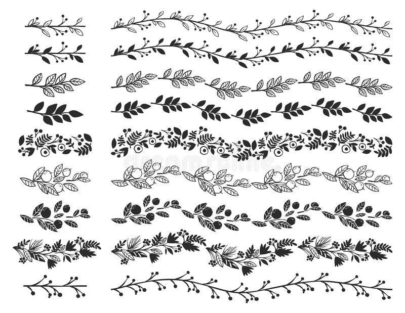 Винтажные декоративные границы Нарисованные рукой элементы дизайна вектора иллюстрация вектора