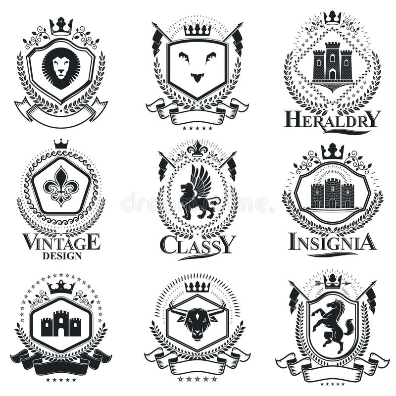 Винтажные декоративные составы эмблем, heraldic векторы тип бесплатная иллюстрация
