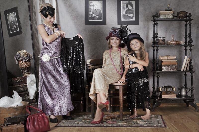 Винтажные дети стиля стоковые фото
