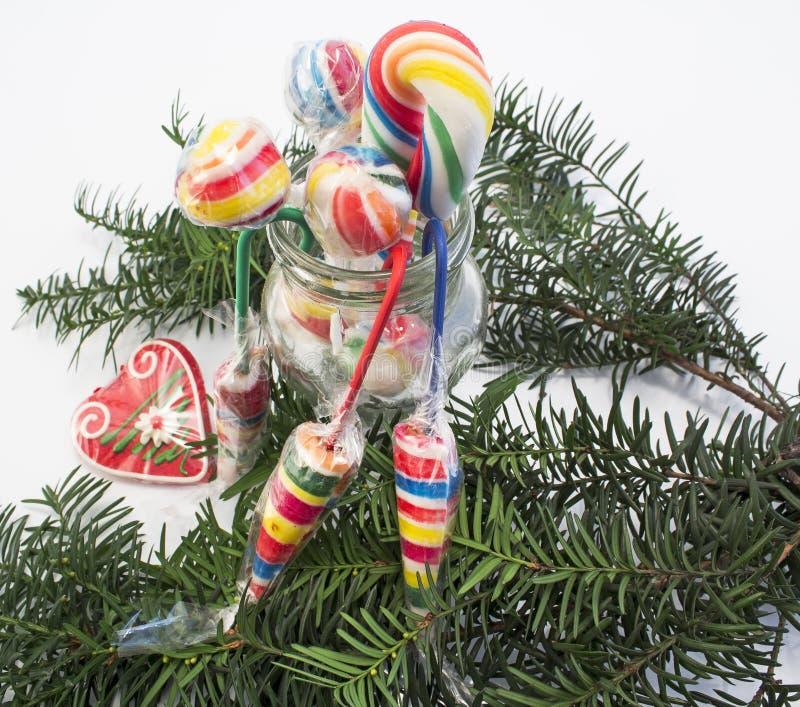Винтажные леденцы на палочке как украшения рождества стоковые фото