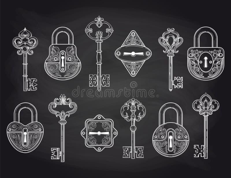 Винтажные замки и ключи на доске иллюстрация вектора
