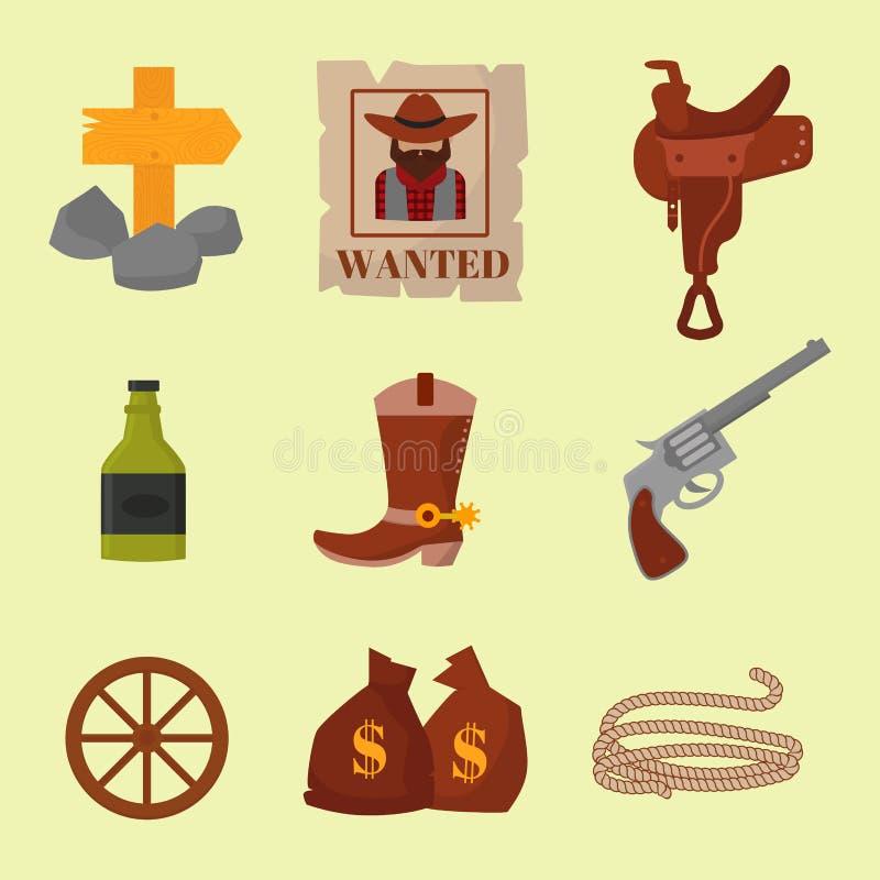 Винтажные западные ковбои vector иллюстрация значков шаржа дизайнов американских символов знаков винтажная старая иллюстрация вектора