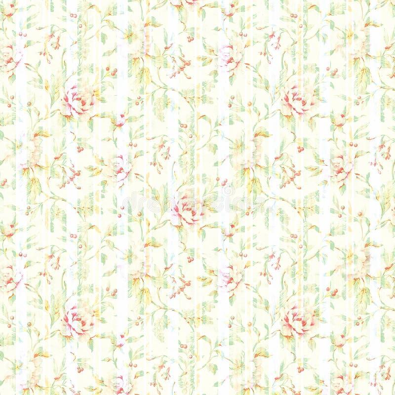 Винтажные затрапезные флористические обои стоковое фото rf
