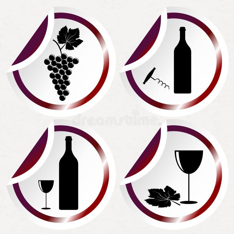 Винтажные значки вина на круглых стикерах с изогнутым углом иллюстрация вектора
