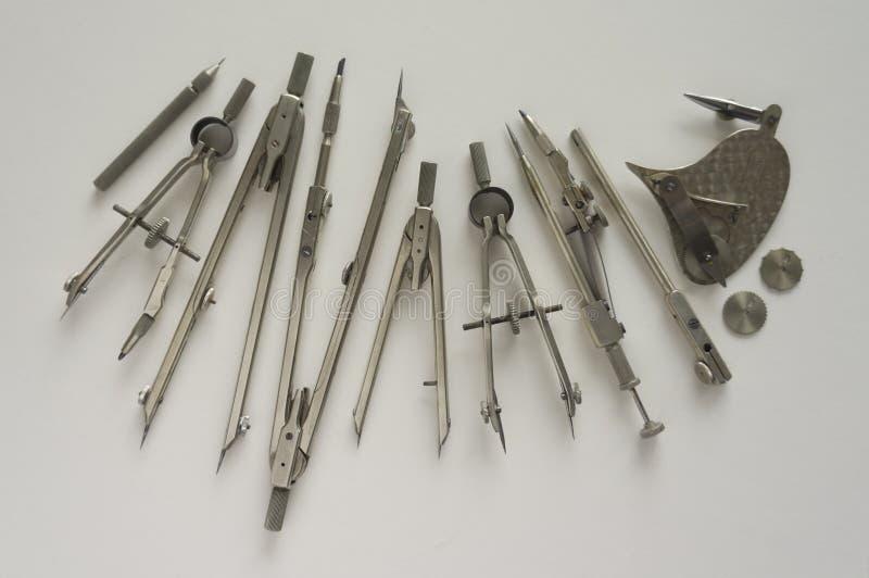 Винтажные инструменты используемые для рисовать стоковая фотография