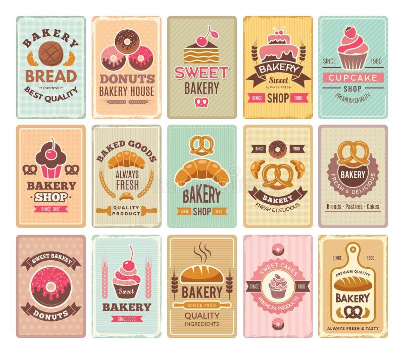 Винтажные карты пекарни Очень вкусный магазин кафа печениь и ярлыки вектора тортов иллюстрация вектора