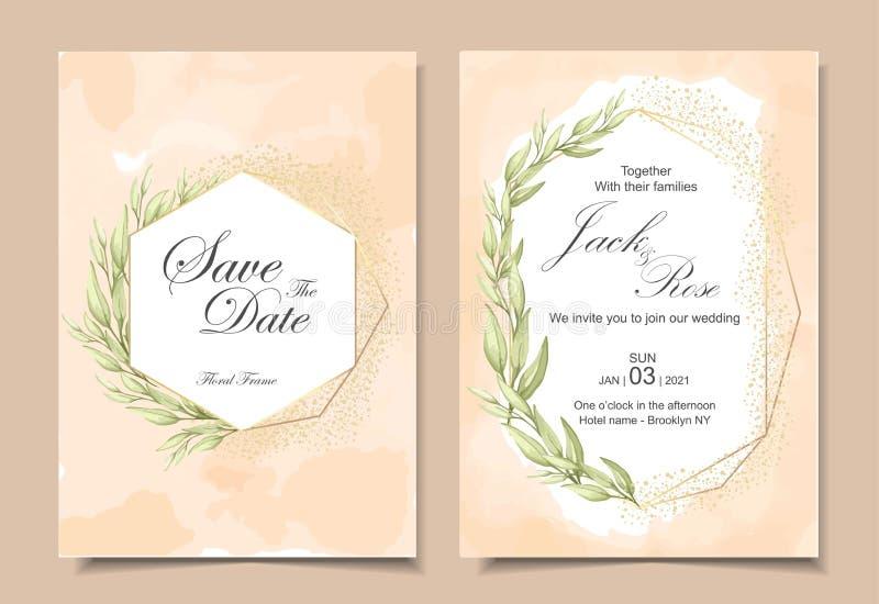 Винтажные карты приглашения свадьбы с текстурой предпосылки акварели, геометрической золотой рамкой, и листьями руки акварели рис иллюстрация вектора
