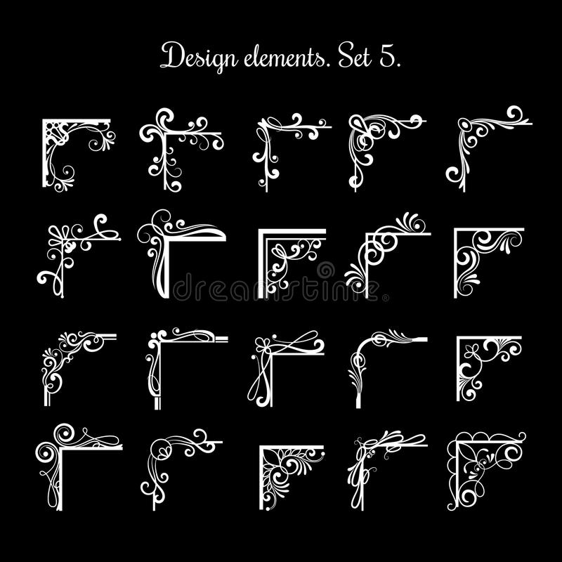 Винтажные каллиграфические углы рамки Комплект угла границы эффектной демонстрации вектора филигранный для дизайна сертификата иллюстрация штока