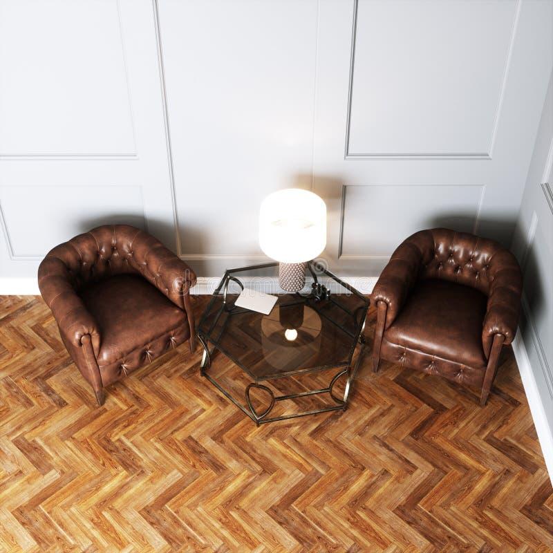 Винтажные кожаные кресла и стеклянный стол с лампой иллюстрация штока