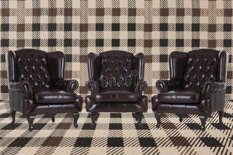 Винтажные кожаные кресла иллюстрация вектора