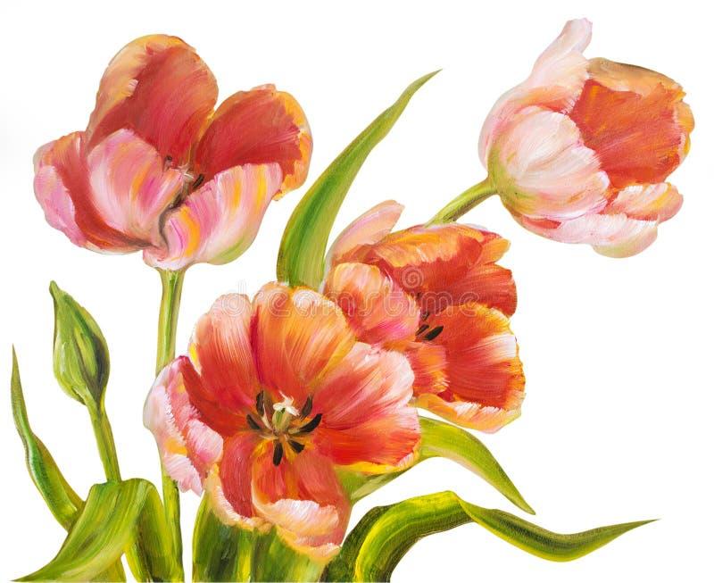 Винтажные красные тюльпаны иллюстрация вектора