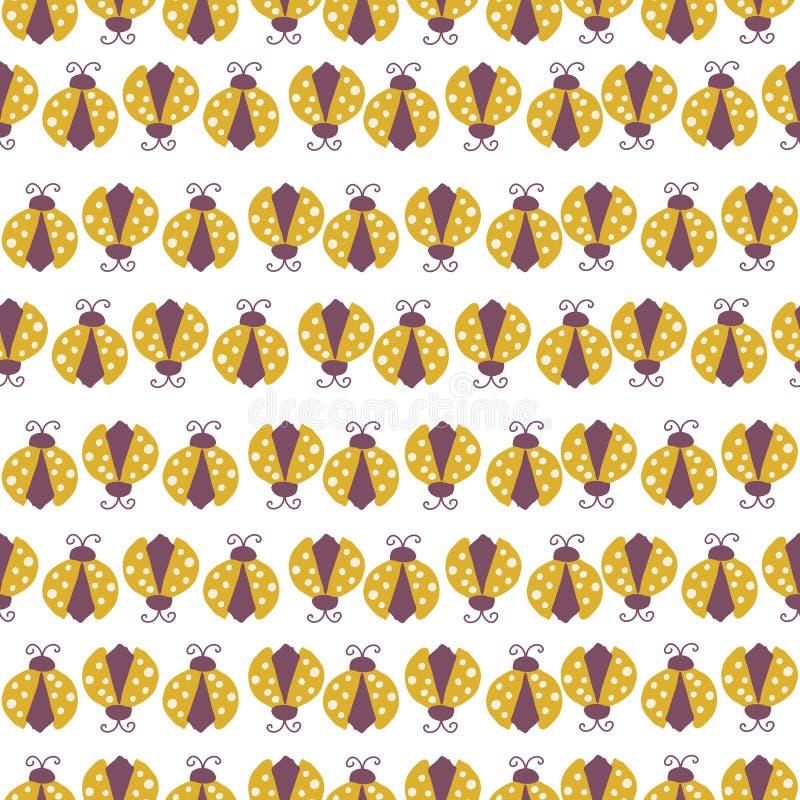 Винтажные красочные ladybirds, в повторенной картине иллюстрация вектора