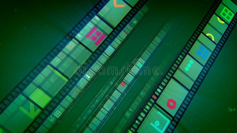Винтажные ленты фильма в зеленой предпосылке иллюстрация вектора