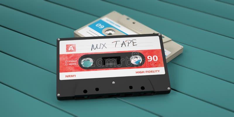 Винтажные магнитофонные кассеты, лента смешивания текста на ярлыке, изолированном на деревянной предпосылке иллюстрация 3d бесплатная иллюстрация