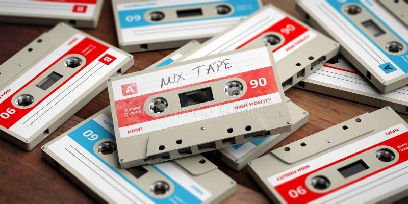 Винтажные магнитофонные кассеты на деревянной предпосылке, ярлыке ленты смешивания, иллюстрации 3d иллюстрация вектора