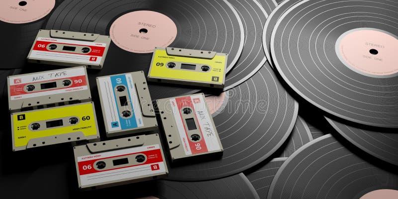 Винтажные магнитофонные кассеты на деревянной предпосылке, ярлыке ленты смешивания, иллюстрации 3d бесплатная иллюстрация