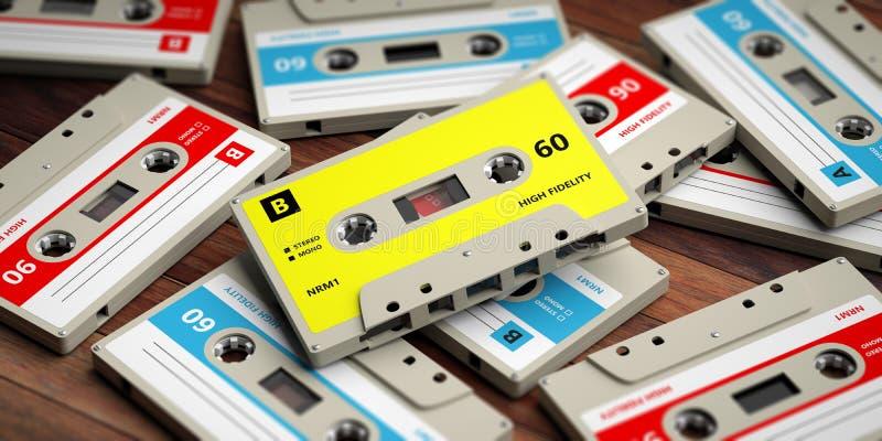 Винтажные магнитофонные кассеты на деревянной предпосылке, иллюстрации 3d иллюстрация вектора