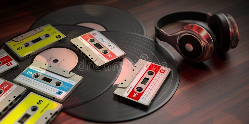 Винтажные магнитофонные кассеты, показатели винила и наушники dj, деревянная предпосылка иллюстрация 3d бесплатная иллюстрация