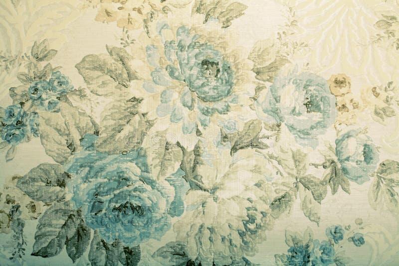 Винтажные обои с голубой флористической викторианской картиной стоковое фото rf