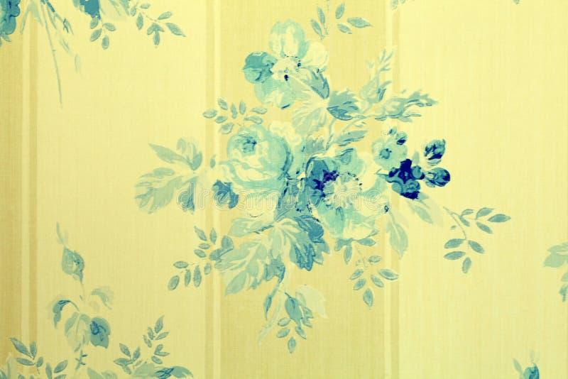 Винтажные обои с синью цветут цветочный узор стоковые изображения rf