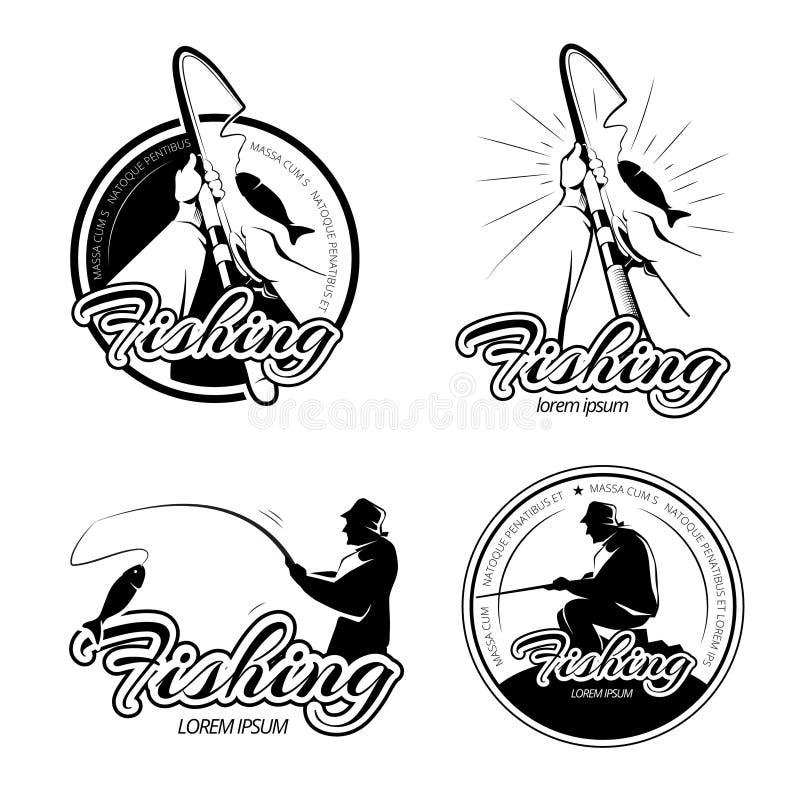 Винтажные логотипы вектора рыбной ловли, эмблемы, комплект ярлыков бесплатная иллюстрация