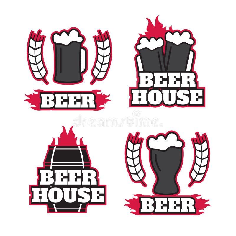 Винтажные логотипы винзавода пива, эмблемы, ярлыки, значки бесплатная иллюстрация