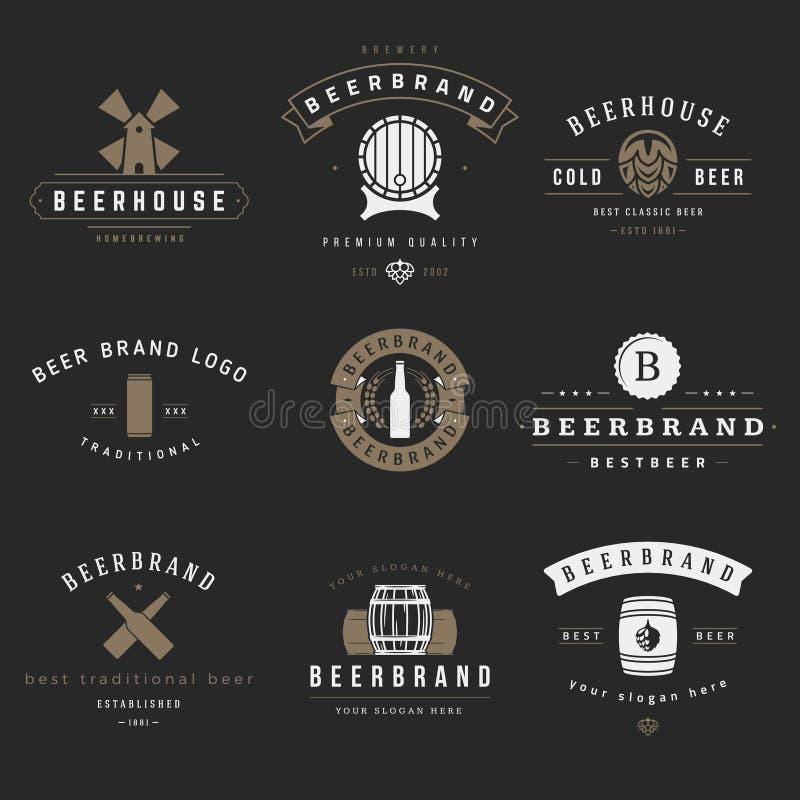 Винтажные логотипы винзавода пива, эмблемы, ярлыки бесплатная иллюстрация