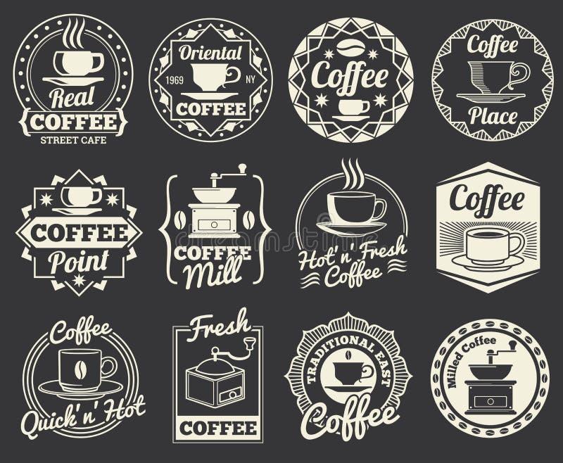 Винтажные логотипы кофейни и кафа, значки и ярлыки бесплатная иллюстрация