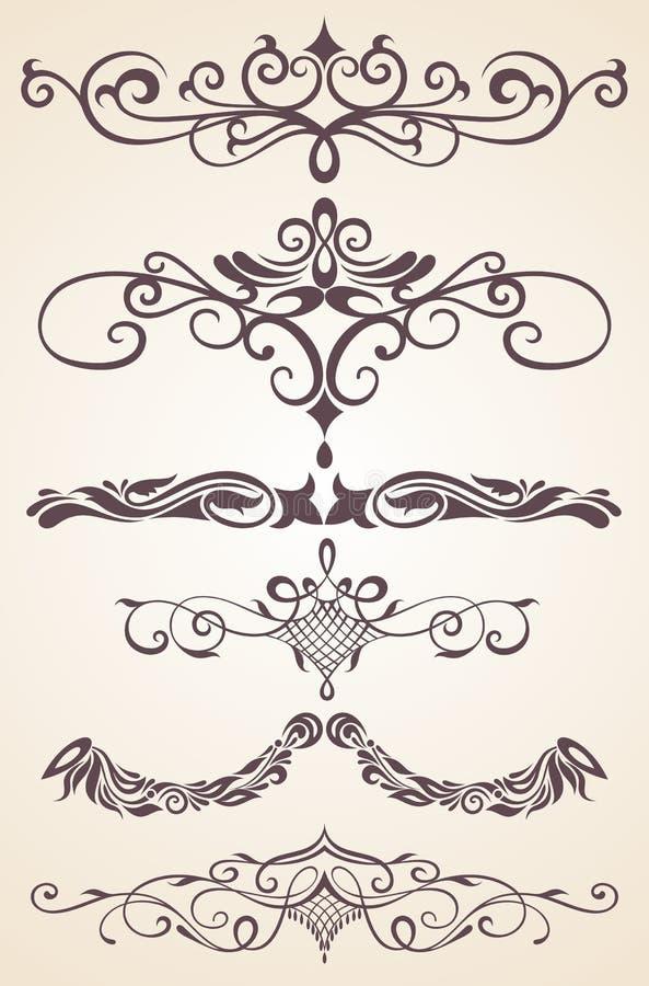 Винтажные орнаменты с флористическими элементами для приглашения иллюстрация вектора