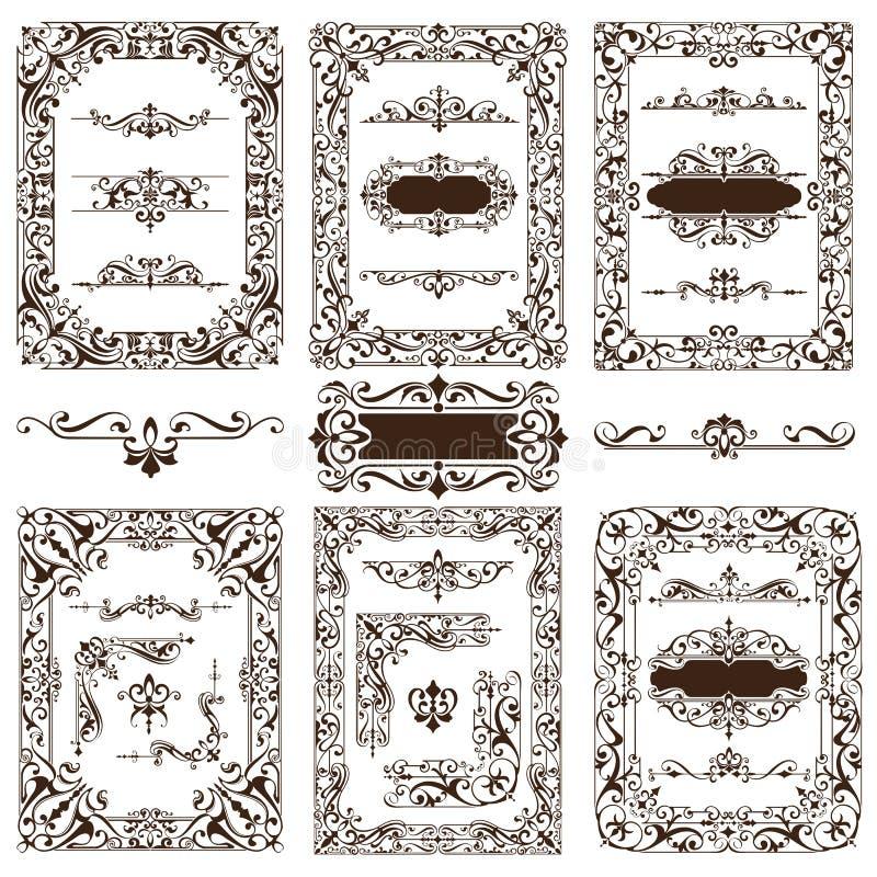 Винтажные орнаменты элементов дизайна обрамляют стикеры обочин углов ретро и иллюстрацию вектора штофа установленную иллюстрация вектора