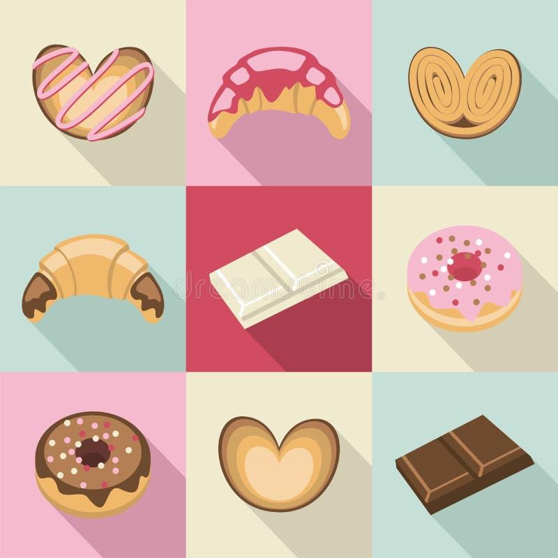 Винтажные помадки и печенья иллюстрация вектора