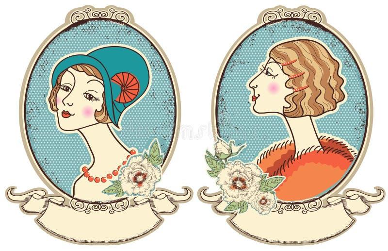 Винтажные портреты женщины в рамке. Иллюстрация вектора иллюстрация штока