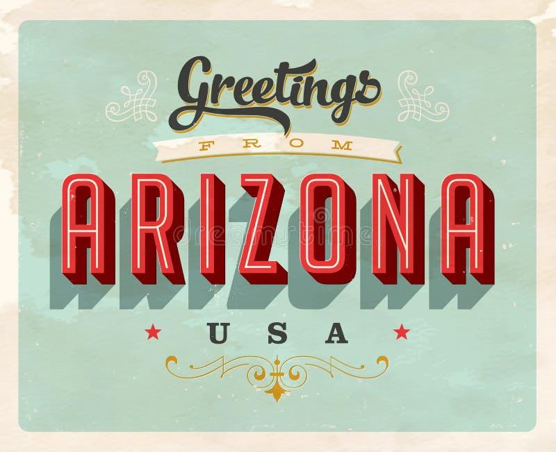 Винтажные приветствия от карточки каникул Аризоны иллюстрация вектора