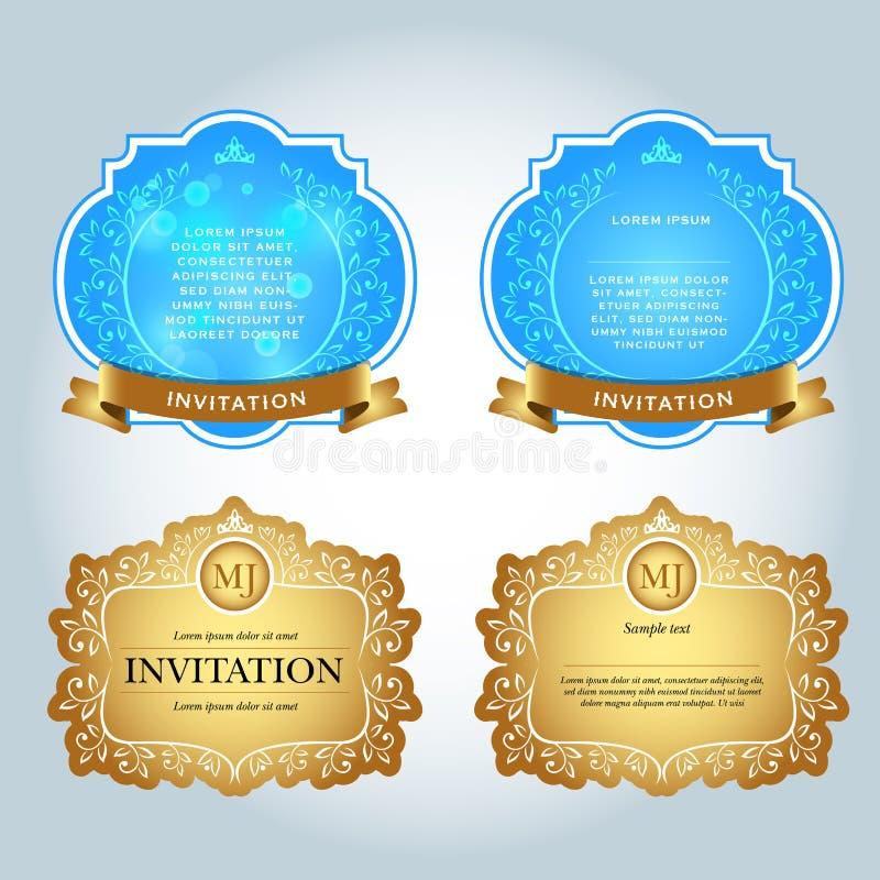 Винтажные приглашения, античная поздравительная открытка, приглашение с шнурком и флористические орнаменты, красивая, роскошная о иллюстрация вектора