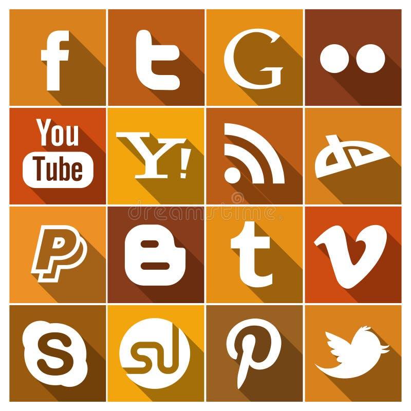 Винтажные плоские социальные значки средств массовой информации иллюстрация вектора